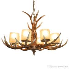 american antler chandelier glass lampshade resin led lamps retro living room dining room light bar modern home lighting g193 with 593 74 piece on