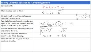 solving quadratic equations by completing the square with examples