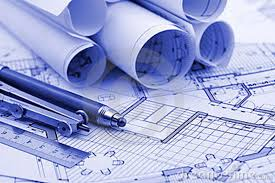 architectural drawings a set of facades and building plans seamless