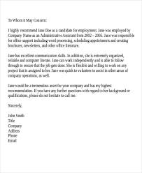 Recommendation Letter For Office Assistant Reference Letter Formats