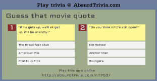 Movie Quote Trivia Classy Trivia Quiz Guess That Movie Quote
