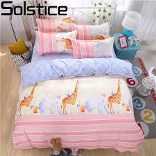 solstice home textile kids like cartoon giraffe printing 3 bedding sets duvet cover set bed linen bedclothes pillowcase tinkerbell bedding queen size duvet