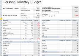 Monthly Budgets Spreadsheets Personal Monthly Budget Template In Excel