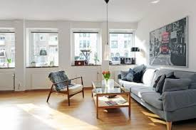 Living room Swedish Apartment with North-European Interior Design Style