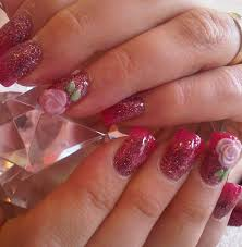 Bubblegum faded into Mel-Rose Acrylic with 3D Rose Nail Art - Nail ...