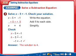 example 2 solve a subtraction equation solve x 5 1