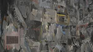 a detail of jasper johns painting map from 1962 part of the exhibition of his work at the broad museum the painting is on loan from the museum of
