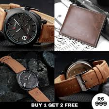 home best ing 1 get 2 free imported og leather strap wrist watches with leather wallet for men in rs 999