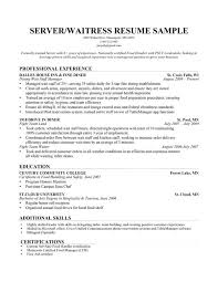 Gallery Of Server Resume Waiter Functional Food Service Waitress