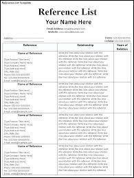 Resume Reference List Format Professional References Format Sample