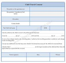 Child Travel Consent Form Template