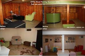 Before And After Basement Painting Halfwall Wood Paneling - Ununfinished basement before and after