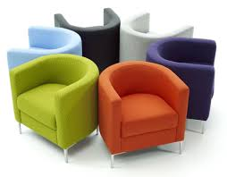 Stuffed Chairs Living Room Furniture Multicolor Small Lounge Chairs With Green Orange And