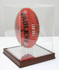 Football Stands Display FOOTBALL DISPLAY CASE with MIRROR BOTTOM VERTICAL Display 11