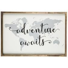 adventure awaits map wood wall decor