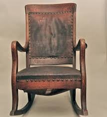 antique high back oak rocking chair with leather by antique wooden office chair