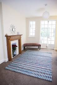 recycled sari silk moroccan blue rug living room by green decore