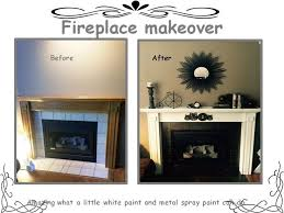 fireplace makeover heat resistant spray paint to take care of the ugly tile surround