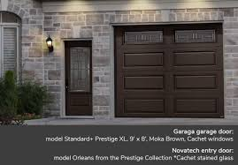 garaga garage doors standard moka brown prestige 9 x 7 our cachet stained glass