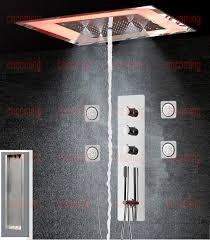 Großhandel Thermostatische Dusche Mischventil Wand Montiert Edelstahl Panel Led Decken Duschkopf Platz Regen Regen Nebel Wasser Spalte Dusche Von