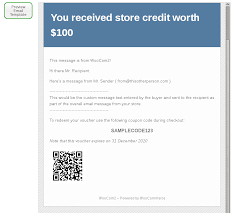 woomerce gift certificates email message preview