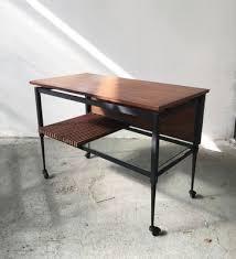 mid century black iron coffee table