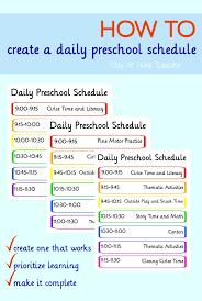 Make A Time Schedule How To Create A Preschool Schedule That Works Preschool Schedule