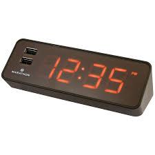 marathon led digital alarm clock with usb charging station coco
