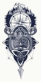 Nálepka Vikingský Válečník Kompas A Horské Tetování Severní Bojovník