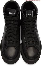 larger image womens kenzo black leather high top sneakers 171387f127006 special for s