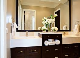 modern bathroom cabinet colors. Classic Contemporary Bathroom Design With Walls Of Mocha Paint Color And Oversized Espresso Framed Mirror Hanging Above An Vanity Chic Twin Modern Cabinet Colors R