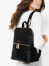 womens backpacks michael michael kors rhea medium slim leather backpack black don terrario