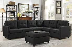 Modern sectional sofas White Modern Sectional Sofa With Ottoman Left Or Right Adjustable Living Room Furniture 7pcs black Savvy Discount Furniture Amazoncom Modern Sectional Sofa With Ottoman Left Or Right