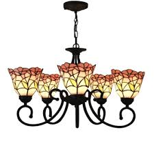 five light nature inspired 24 inch pink blue stained glass tiffany chandelier ceiling light