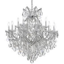 crystorama lighting group maria theresa polished chrome 19 light chandelier with clear italian crystal