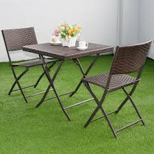 costway 3 pc outdoor folding table chair furniture set rattan wicker bistro patio brown com