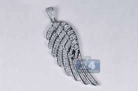 14k white gold 1 60 ct diamond angel wing mens pendant