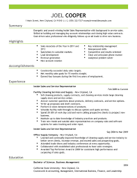 Resume Examples Sales Representative Free Resume Example And