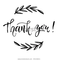 Thank You Black And White Printable Thank You Card Thanks Vector Isolated Stock Vector Royalty
