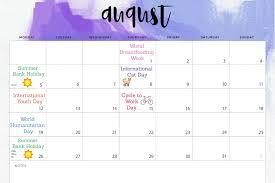 August Calandar August Awareness Days Calendar