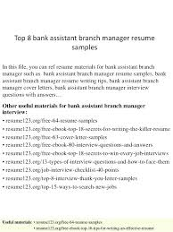 Bank Manager Interview Questions Bank Branch Manager Resume Banking Manager Resume Bank Assistant