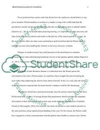 Professionalism In Nursing Professionalism In Nursing Essay Example Topics And Well Written