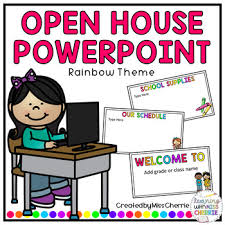 Open House Powerpoint Open House Back To School Powerpoint Rainbow Theme Editable