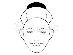女性正面顔 ラインのみイラスト No 1397883無料イラストなら