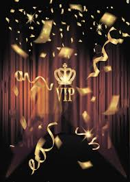 Black Vip Gold Confetti Crown Stage Red Curtains Birthday Background