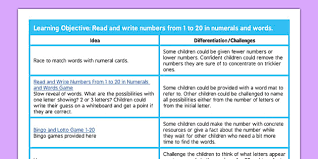 T N 2602 Read and Write Numbers to 20 Lesson Ideas ver 1