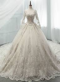Light <b>Champagne Tulle Appliques</b> Long Sleeve Backless Beading ...