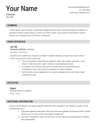 Professional Resume Templates Free