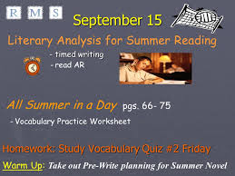 characterization essay grammar sentence test   15 all summer in a day pgs 66 75