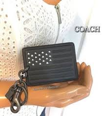 COACH NASA Space Flag Keychain Mens Womens Bag Backpack Black Leather Charm   70